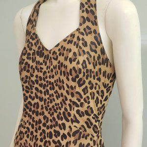 spotted leopard faux suede long halter dress S